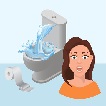 Littering toilet clogged and water splash, toilet paper littered vector cartoon illustration with girls scared face. Leakage canalization. Litter in WC and lavatory pan repair.