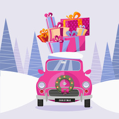 Postcard in a flat cartoon girlish style with a cute pink retro car decorated with a Christmas wreath that carries gift colorful boxes home. The car rides through a frozen forest. illustration
