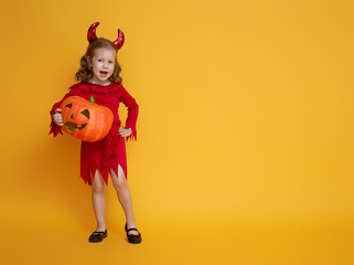 little devil with a pumpkin Wall mural