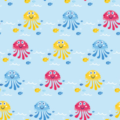 Cute sea vector animals of the deep. Cartoon seamless pattern on a color background. It can be used for backgrounds, surface textures, wallpapers, pattern fills