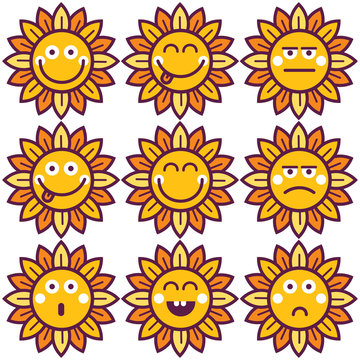 Vector flowers emoticon setfor banner, card, label, poster, promotion, web site, online shopping, advertising.