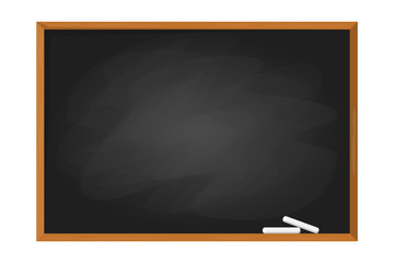 Black school chalkboard in the frame. Blank clasroom