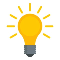 Light bulb icon. Flat illustration of light bulb vector icon for web design