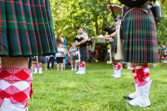 Bagpipers Play To Begin Scottish Highland Games In North Georgia