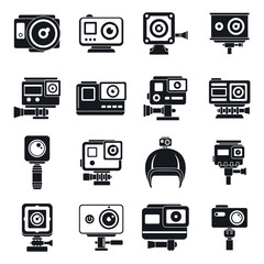 Modern action camera icons set. Simple set of modern action camera vector icons for web design on white background