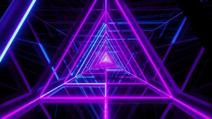 abstract glowing blue purple triangle wireframe background walpaper 3d rendering