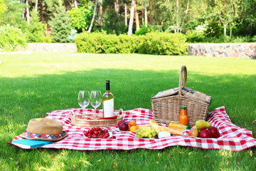 Aluminium Prints Picnic Picnic basket with products and bottle of wine on checkered blanket in garden