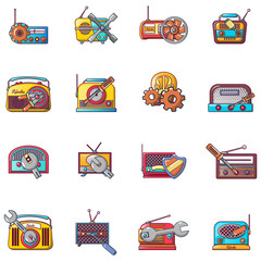 Radio repair icons set. Cartoon set of 16 radio repair vector icons for web isolated on white background