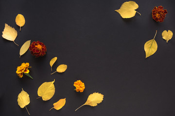 Autumnal leaves and flowers Wall mural