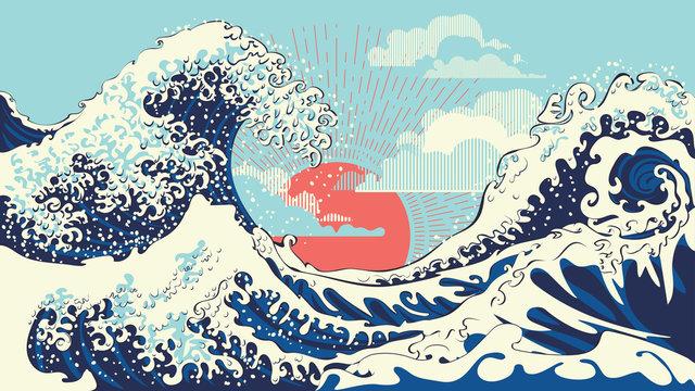 Retro great waves design