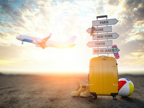 Yellow suitcase and signpost with travel destination, airplane.Tourism and  travel concept background.