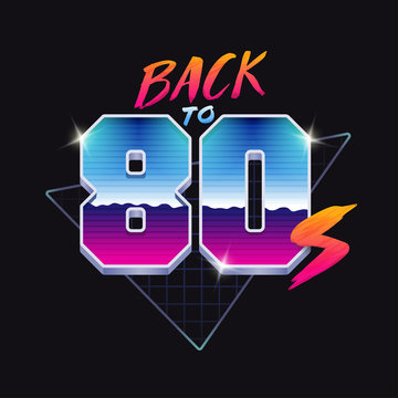 Back to 80s banner. 80's style illustration