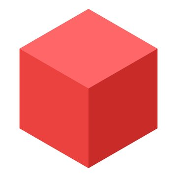 Red cube icon. Isometric of red cube vector icon for web design isolated on white background