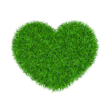 Heart green grass 3D. Green grass love land isolated white background. Ecology garden, heart-shape. Bio texture evergreen carpet. Eco environment concept. Decorative banner design. Vector illustration