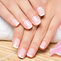 Fotobehang Manicure Beautiful woman's nails with french manicure