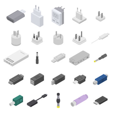 Adapter icons set. Isometric set of adapter vector icons for web design isolated on white background