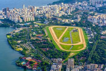 Fotobehang - Aerial view of jockey club and Leblon in Rio de Janeiro, Brazil. Cityscape of Rio de Janeiro