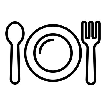 Kid plate, fork, spoon icon. Outline kid plate, fork, spoon vector icon for web design isolated on white background