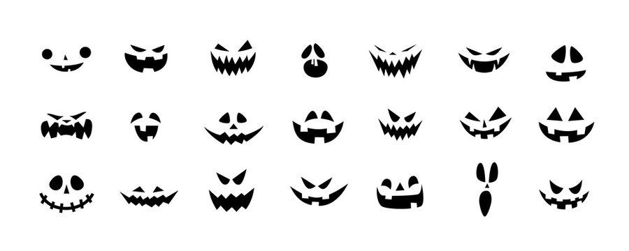 Set of Halloween scary pumpkins cut. Spooky creepy pumpkins cut