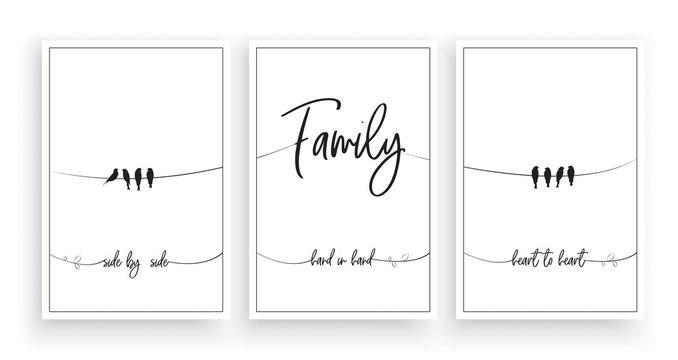 Family, side by side, hand in hand, heart to heart vector, wording design, lettering, minimalist poster design, three pieces poster design, wall art decor, wall decals, love quotes, greeting card