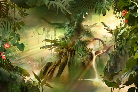 Beautiful dreamy jungle landscape with big old tree, can be used as background or wallpaper