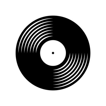 Vinyl plate disc isolated on white background. Music retro icon.