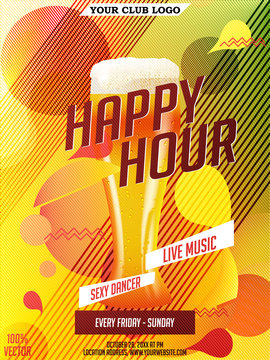 Happy hour Vector invitation & flyer with realistic beer glass and geometric shapes. Memphis style cover. Beer glass and abstract geometric shapes. Poster, promotion design EPS 10