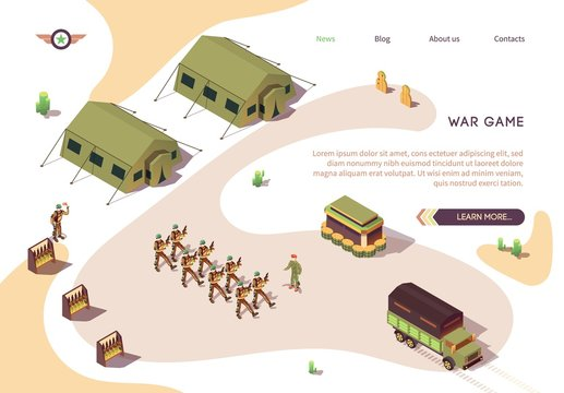 War Game Banner with Military Base Camp in Dessert