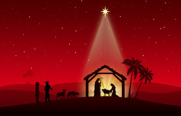 Chritmas Nativity Scene on red background