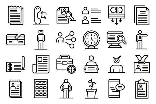 Unemployed icons set. Outline set of unemployed vector icons for web design isolated on white background