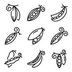 Peas icons set. Outline set of peas vector icons for web design isolated on white background