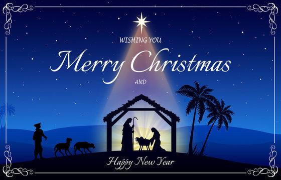 Chritmas Nativity Scene greeting card on blue background