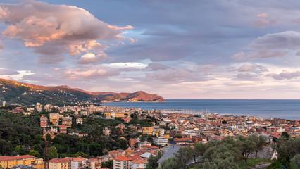 Tigullio bay at the sunset - Chiavari, Lavagna and Sestri Levante - Ligurian sea - Italy