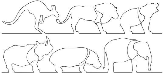 One line vector animals
