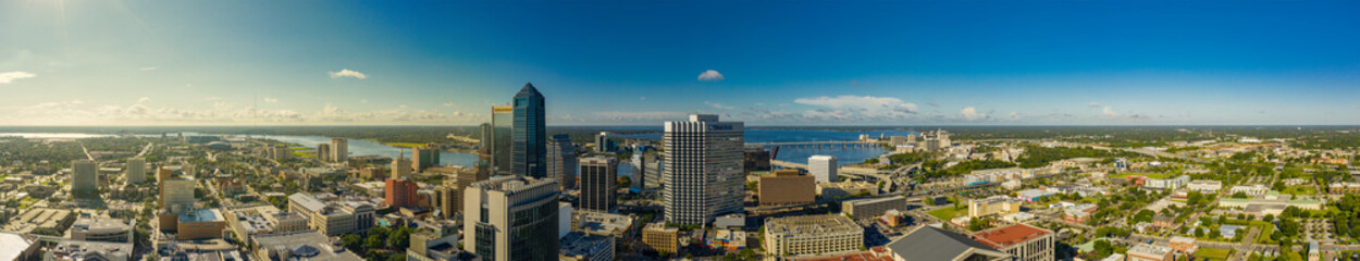 Wall Mural - Aerial panorama Downtown Jacksonville  Florida USA