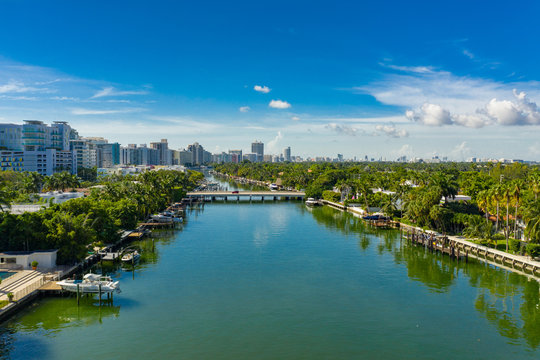 Aerial photo Miami Beach Indian creek waterway with luxury homes