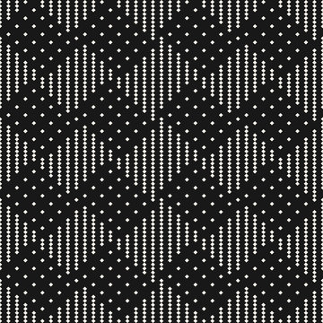 Vector black and white geometric checkered seamless pattern with tiny squares