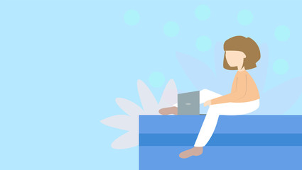 Happy woman with laptop. Can use for backgrounds, infographics, hero images. Flat style modern vector illustration.