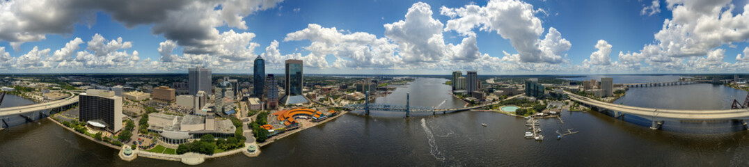 Door stickers Panorama Photos Aerial 360 panorama Downtown Jacksonville FL and St Johns river