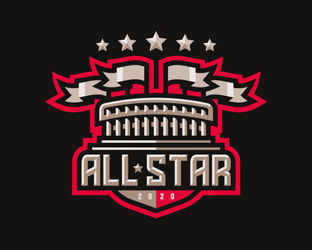 All star logo design, stadium with flagsemblem tournament template editable for your design.