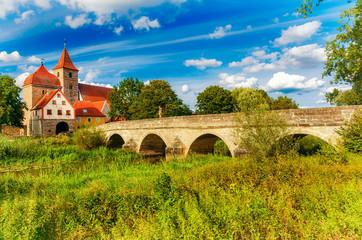 Alte Altmühlbrücke von Ornbau in Mittelfranken, Bayern