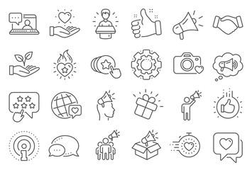 Brand ambassador line icons. Influence people, Megaphone and Representative. Handshake, influencer marketing person, social media like icons. Ambassador person. Brand pr. Line signs set. Vector