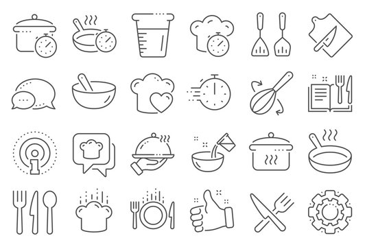 Cooking line icons. Boiling time, Frying pan and Kitchen utensils. Fork, spoon and knife line icons. Recipe book, chef hat and cutting board. Cooking book, frying time, hot pan. Line signs set. Vector