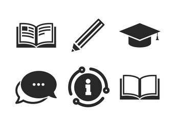 Graduation cap symbol. Chat, info sign. Pencil and open book icons. Higher education learn signs. Classic style speech bubble icon. Vector