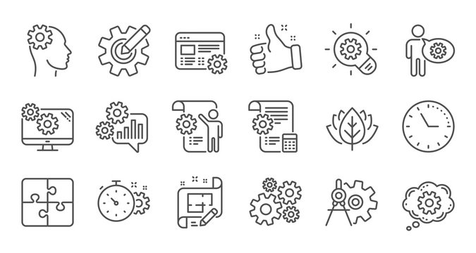Engineering line icons. Puzzle, Dividers tool and Architect plan. Engineer linear icon set. Quality line set. Vector