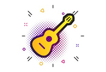 Acoustic guitar sign icon. Halftone dots pattern. Music symbol. Classic flat guitar icon. Vector