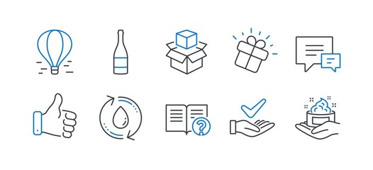 Set of Business icons, such as Refill water, Like hand, Champagne bottle, Comment, Packing boxes, Help, Air balloon, Gift, Dermatologically tested, Skin care line icons. Line refill water icon. Vector