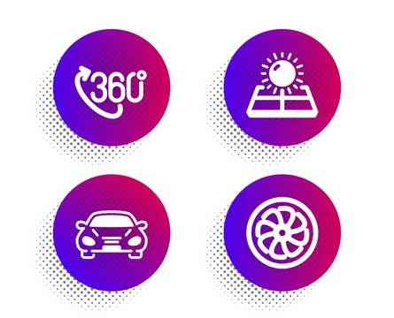 360 degree, Car and Sun energy icons simple set. Halftone dots button. Fan engine sign. Virtual reality, Transport, Solar panels. Ventilator. Technology set. Classic flat 360 degree icon. Vector
