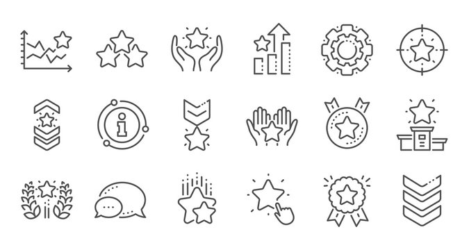 Ranking line icons. First place, star rating and winner medal. Shoulder strap, army achievement and star ranking icons. Linear set. Quality line set. Vector