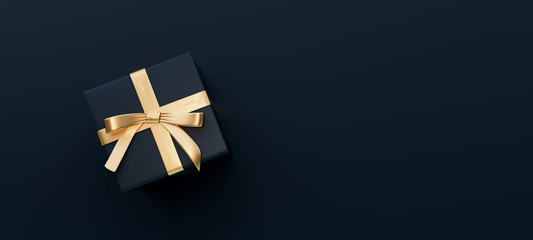 Black gift box with golden bow on black background 3D Rendering